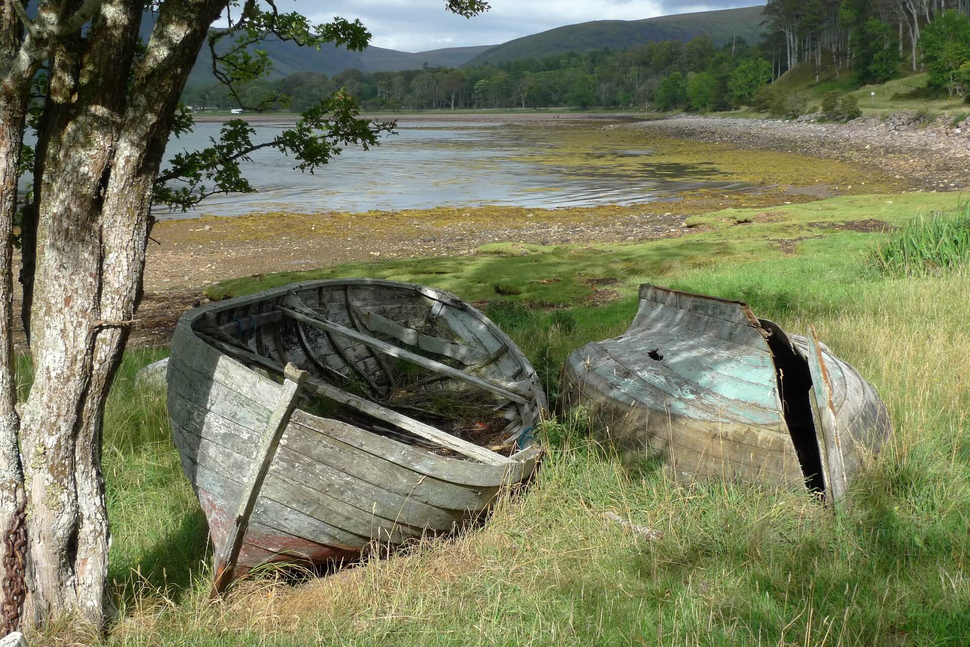 Old and worn row boats in Applecross