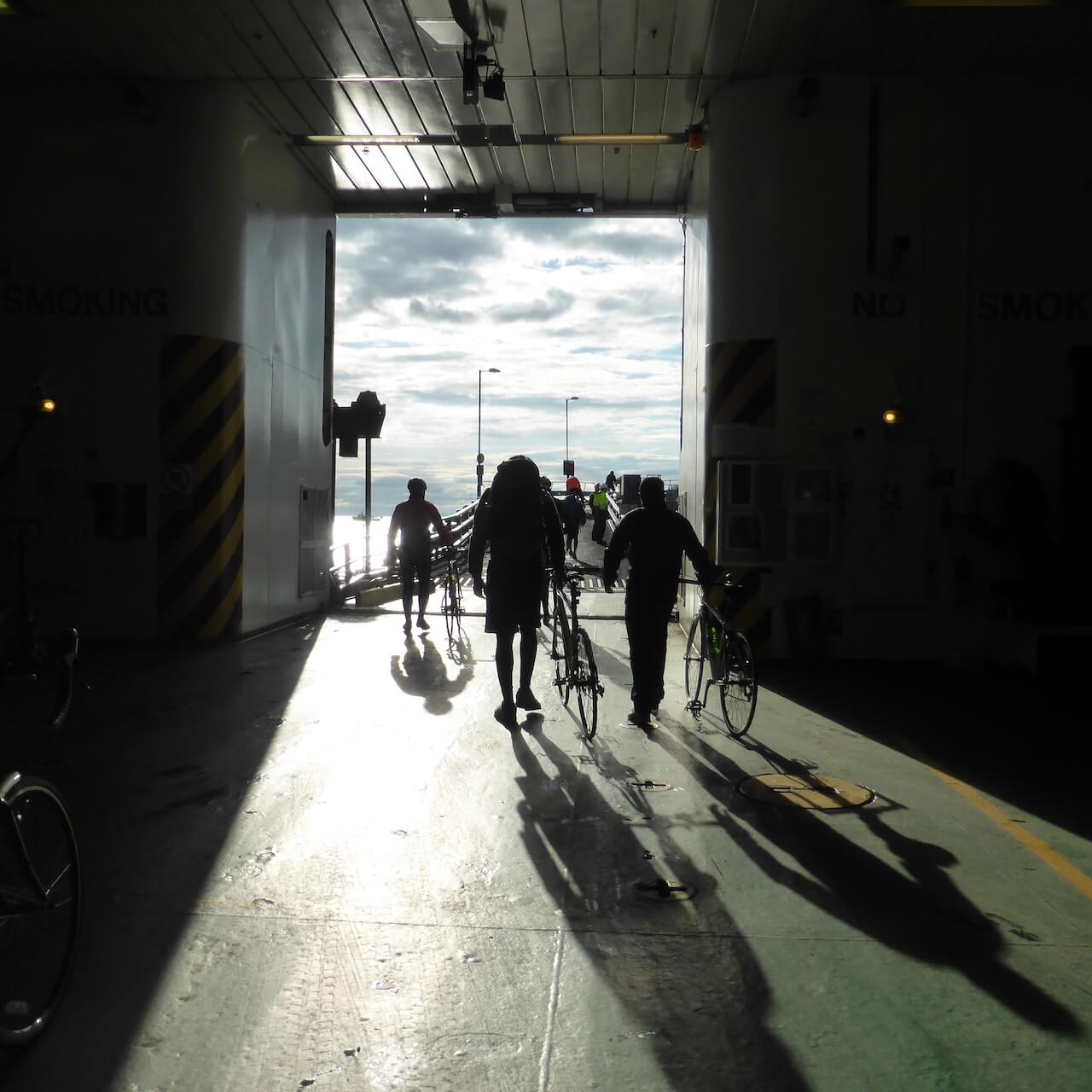 Cyclists Disembark, Isle of Arran