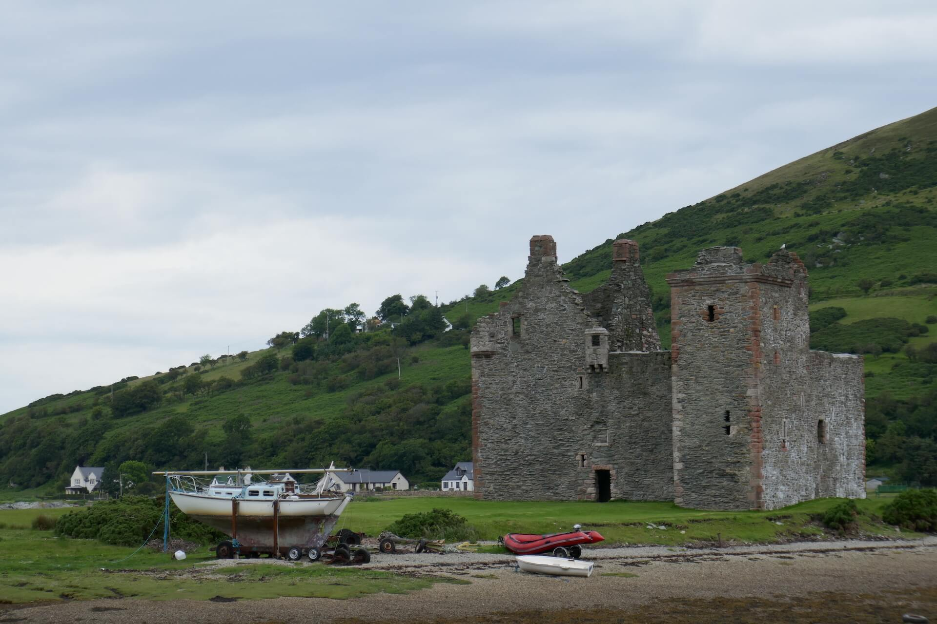 Lochranza Castle and boats, Isle of Arran