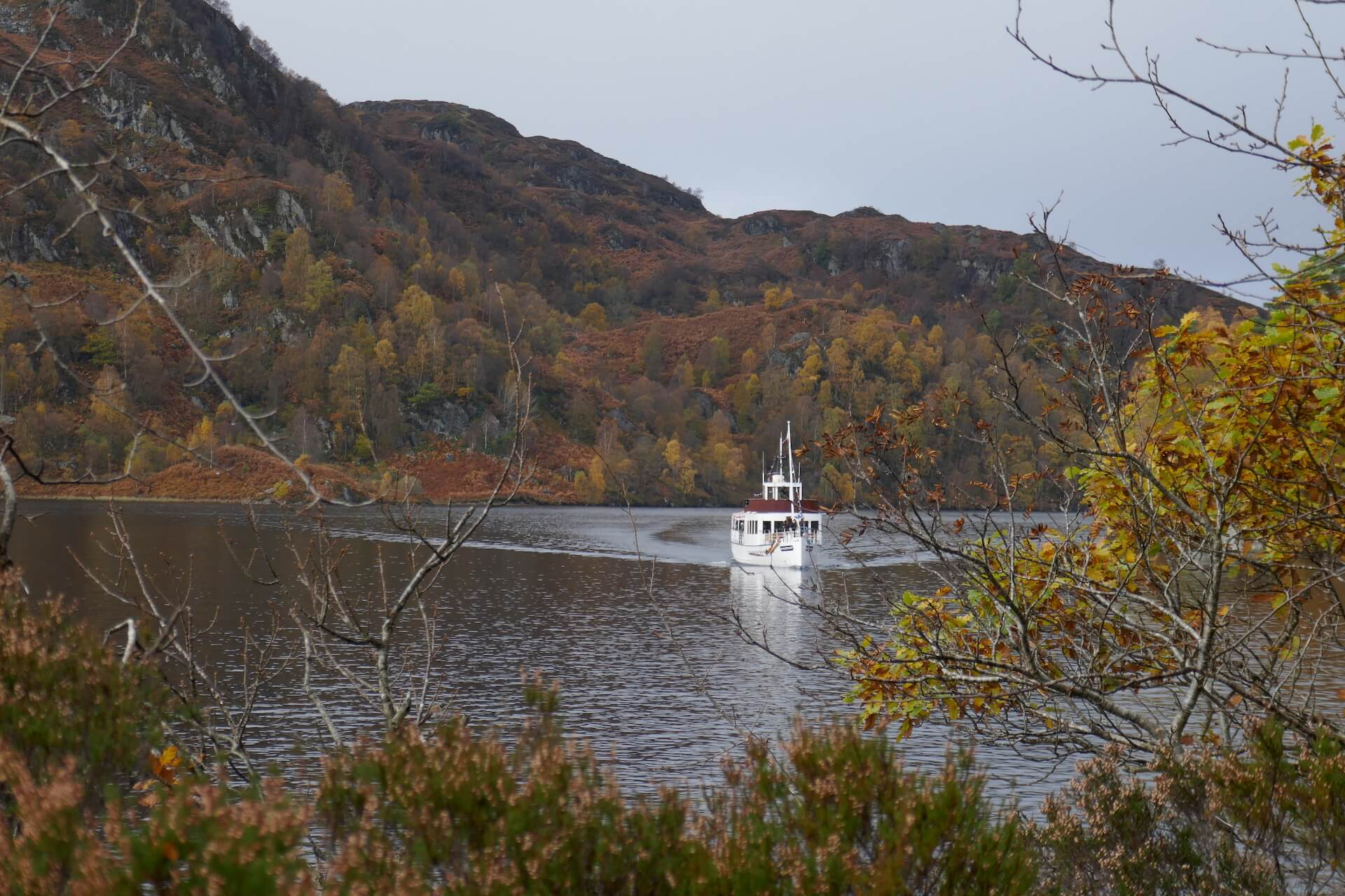 The Sir Walter Scott comes to dock on Loch Katrine